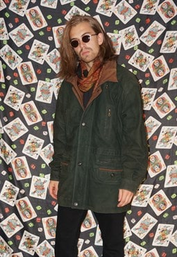 Vintage 80's Green Suede Coat