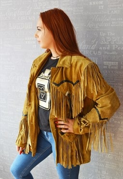 Real leather/suede tassel cowboy style jacket