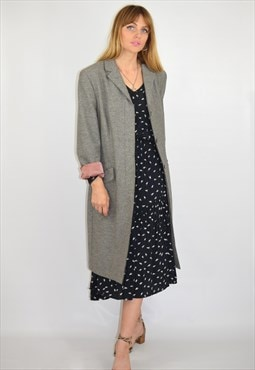 Vintage 90s Grey Long Relaxed Mac Coat