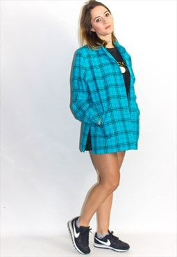 Vintage Clueless Blue Checked Oversized Coat