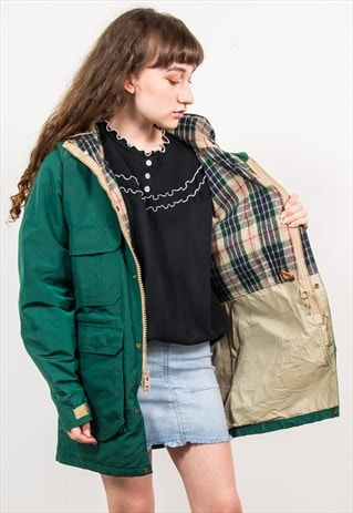 VINTAGE 90'S WOOLRICH GREEN HOODED RAIN COAT