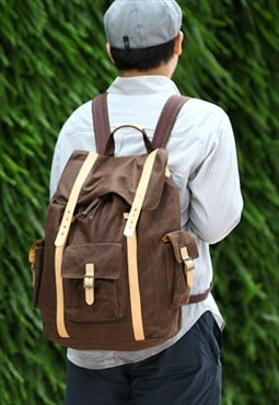 Backpack L /Rucksack/Wax Canvas/Italy Leather - Brown