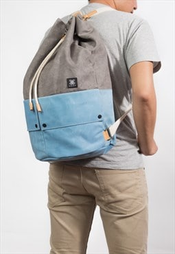 Trip Backpack/Rucksack/Wax Canvas/Italy Leather - Light Grey