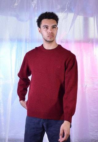 VINTAGE FRED PERRY RED KNITTED JUMPER