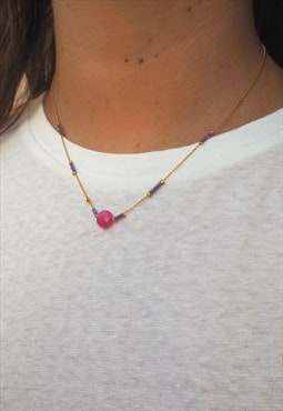 GLOSSY Gold Chain Necklace with Pink and Purple Beads