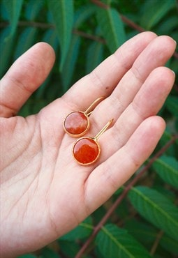 GLOW Orange Crystal Drop Earrings