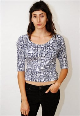 vintage Esprit Top (XS/S) t-shirt 80s abstract print crop 90