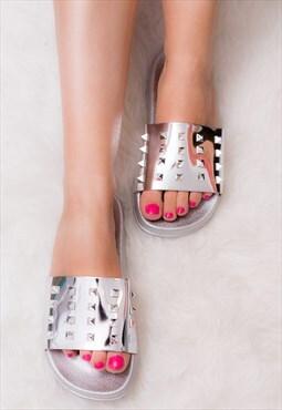 ALLURE Flip Flop Flat Sandals Shoes - Silver Leather Style