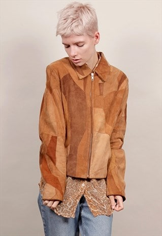 VINTAGE 70'S TAN PATCHWORK SUEDE COLLARED JACKET