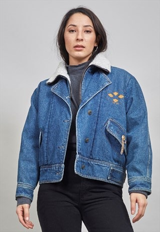 VINTAGE SHEARLING LINED CROPPED DESIGNER DENIM JACKET