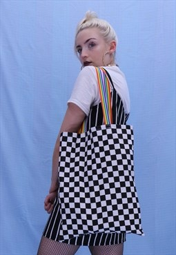Checkerboard Tote Bag with Rainbow Detailing