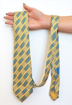 Vintage Hermes Chain Print nautical silk tie
