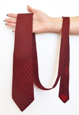 Vintage Hermes Monogram H Red lucky silk tie