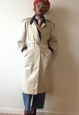 Beige and Navy Vintage Mac/Trench Coat from Four Seasons