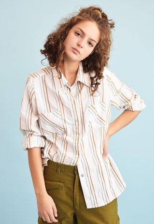 90'S RETRO BOHO STRIPED PRINT NEUTRAL SHIRT TOP