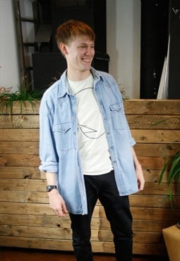 Vintage Light Denim Popper Shirt