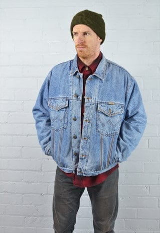 VINTAGE WRANGLER LIGHT BLUE LINED DENIM JACKET