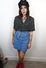 Blue denim button up aline 90's belted mini skirt