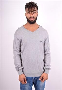 Chaps Ralph Lauren Mens Vintage Jumper Sweater Large Grey 90