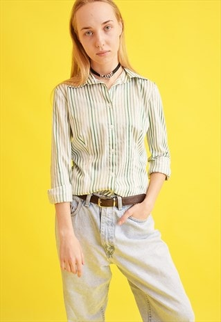 90'S RETRO STRIPED NEUTRAL MOMS SHIRT TOP