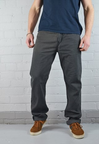 VINTAGE LEVI'S 514 CHARCOAL GREY STRAIGHT LEG CHINOS