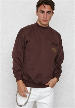Vintage Brown Crew Neck Pullover Sweatshirt