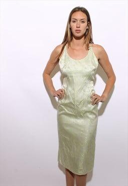 vintage 1990's 90's pastel green satin floral long dress S-M