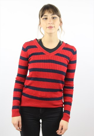 VINTAGE TOMMY HILFIGER STRIPED RED JUMPER