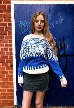 Vintage 90s Blue & White Patterned Cosby Jumper