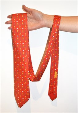 Vintage Hermes luxury frog ladder cloud orange silk tie