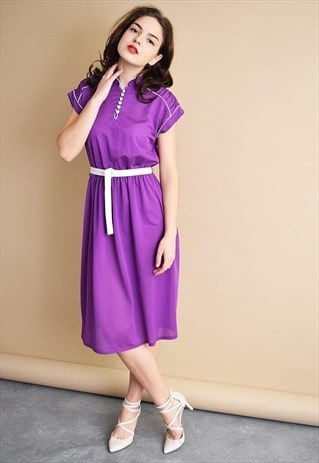 VINTAGE 70'S RETRO MOD PURPLE ELEGANT MIDI DRESS