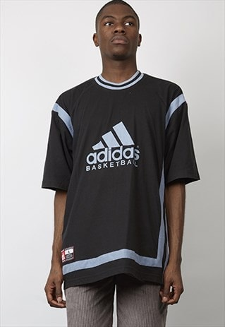 VINTAGE 90'S BLACK / BLUE ADIDAS BASKETBALL T-SHIRT