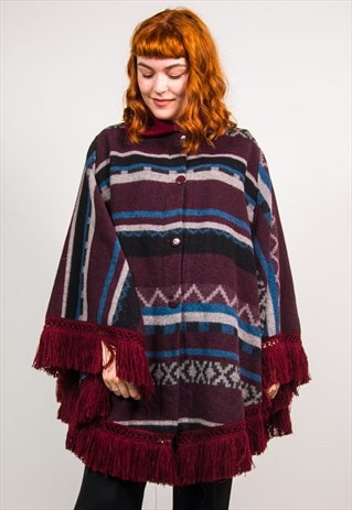 VINTAGE 90'S PURPLE STRIPED PATTERN PONCHO COAT