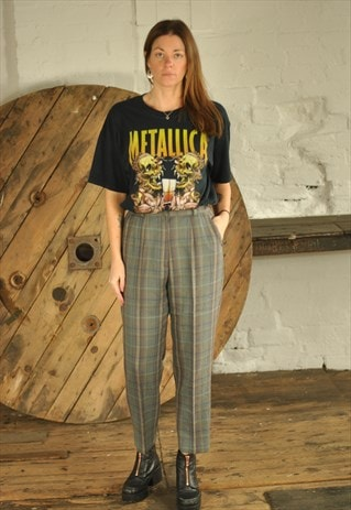 VINTAGE WOOL CHECKED HIGH WAIST TROUSERS