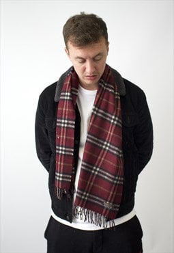Vintage Burberry Traditional Cashmere Checked Scarf