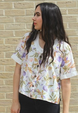 Vintage 90's Floral Cropped Blouse