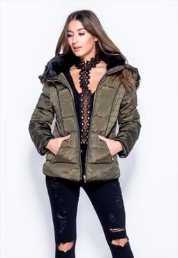 Quilted Faux Fur Hood Puffer Jacket - Khaki