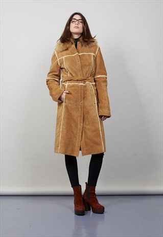 VINTAGE FAUX SHERPA LINED  70'S SUEDE COAT