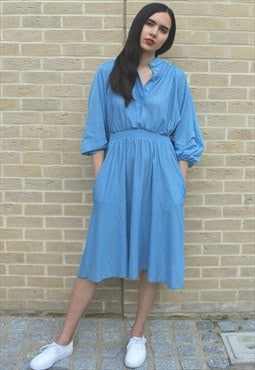 Vintage 70's Knitted Blue Dress