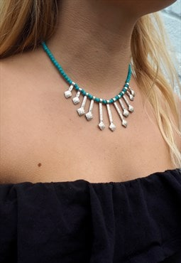 SPLENDOUR Turquoise Necklace with Silver Arrow Drops