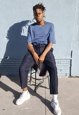 80s 90s Avant Garde High Rise Blue Pleated Cropped Trousers