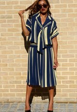 Vintage Tea Dress in A Blue Yellow Striped Print