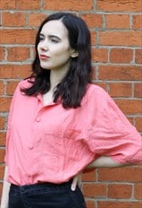 Vintage 80's Silk Blouse in Coral