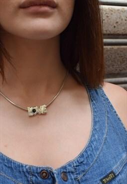 LOVE Silver Necklace Black Stone