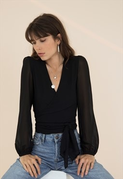 Hestia Black Wrap Front Blouse