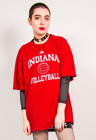 ADIDAS VINTAGE 90'S RED INDIANA VOLLEYBALL OVERSIZED T-SHIRT