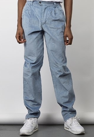 VINTAGE 80'S BLUE HEAVY CORDUROY TAPERED TROUSERS