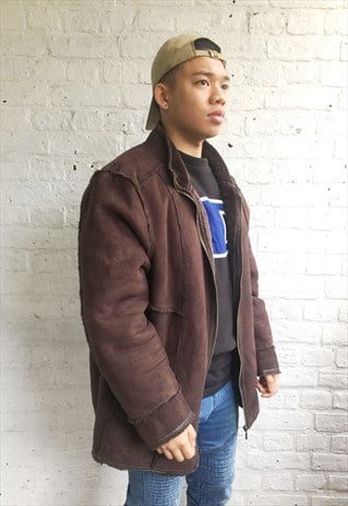 SHEARLING BOMBER JACKET WITH FLEECE LINING (1990'S)