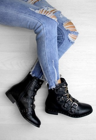 LISSY BLACK STUDDED BUCKLE ANKLE BOOTS