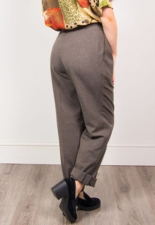 VINTAGE 90'S GREY HIGH WAIST TAPERED TROUSERS